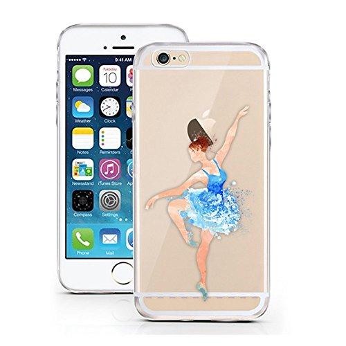 Blitz® PUSHER 2 motifs housse de protection transparent TPE iPhone Ballerine rose rouge M3 iPhone 5 bleu Balerina M2
