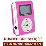 NUMBERONESHOP--Mini Reproductor MP3 con LCD Lector Tarjeta Micro SD SDHC Clip Aluminio Rosa --ENVIO DESDE ESPANA