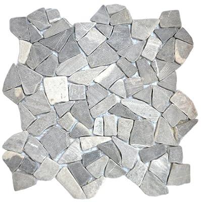 1 qm Marmor Bruch Mosaik grau von Gastromia - TapetenShop
