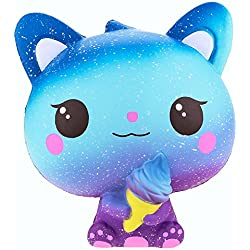 VLAMPO Jumbo Squishies Slow Rising Cat Ice Cream Decoración Squishy Kawaii Stress Relief Toys 5.9 '' (Azul Oscuro)