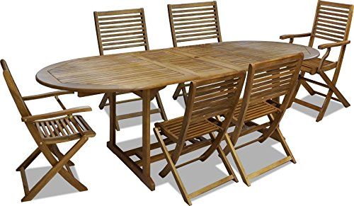 Tavolo Esterno Allungabile Legno.Set 7 Pz Da Esterno Giardino Tavolo Ovale Allungabile In Legno 170