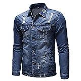 Celucke Herren Jeansjacke mit auffälligem Used-Look und Mittlerer Waschung,Männer Herbst Winter Langarm Vintage Demin Jacke