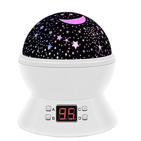 Timer-Stern-Projektor, MKQPOWER neue Erzeugung, die Mond-Stern-Projektions-LED-Nachtlichter-Spielwaren-Tabellen-Lampen mit Timer shut off & EU-Adapter, entspannende Schlaf-Hilfe für Kinder Projektions-LED (Zeit Spider Man Wecker)