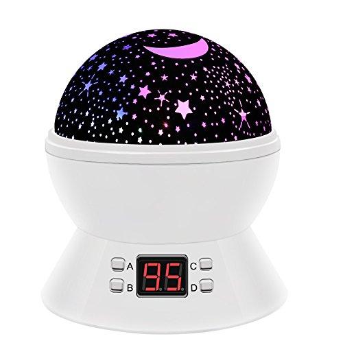 Timer-Stern-Projektor, MKQPOWER neue Erzeugung, die Mond-Stern-Projektions-LED-Nachtlichter-Spielwaren-Tabellen-Lampen mit Timer shut off & EU-Adapter, entspannende Schlaf-Hilfe für Kinder Projektions-LED (Timing-weiß)