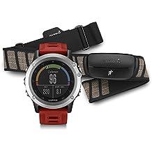 Garmin 010-01338-16 Fenix 3  - Reloj multideporte con GPS y correa, Reloj Plata/Correa Roja, Talla única
