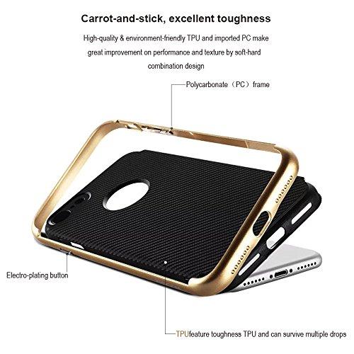 Coque iPhone 7,Case Ultra Mince Protection en TPU Silicone,Hybride Anti-scratch Carcasse Bumper Housse Double Couche Etui en fibre de carbone,Métaux magnétiques intégrés pour la dissipation de chaleur Rouge