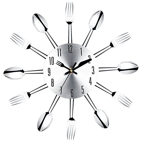 SODIAL(R) Stainless steel knife and fork spoon kitchen restaurant wall clock Home Decoration