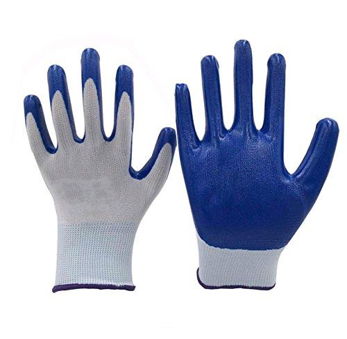 LAOB Labour Insurance Handschuhe eingetaucht Gummi beschichtet Arbeit weiß blau NBR rutschfeste tragbare verdickte atmungsaktive Arbeitshandschuhe 12 Paare - Gummi Beschichtete Arbeits-handschuhe