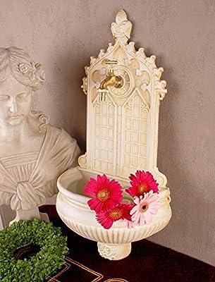 Antiker Wandbrunnen, Zierbrunnen, Gartenbrunnen, Brunnen, Eisenbrunnen für den den Garten, die Terrasse oder schöne Zuhause, in Altweiß - Palazzo Exclusive von PALAZZO INT - Du und dein Garten