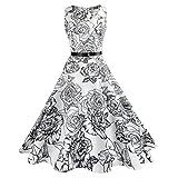TEBAISE Sommer Klassischen Stil Frauen Vintage Printing Bodycon Feast Schlank Sleeveless Halter Abendgesellschaft Prom Swing Kleid Layered Rock(Weiß5,EU-40/CN-XL)
