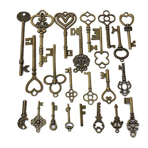 Preisvergleich Produktbild KING DO WAY 23 Stück Retro Bronze Schlüssel Anhänger Schmuck Deko Für Halskette Kette DIY
