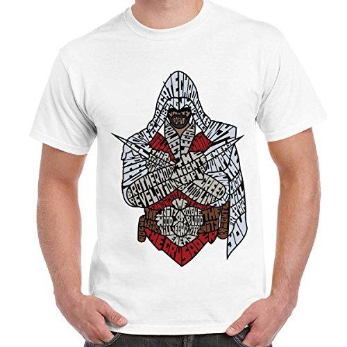 T-Shirt Uomo Maglietta Maniche Corte Videogames Con Stampa Assassin's Creed, Colore: Bianco, Taglia: L