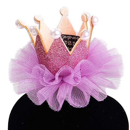 Mimagogo Haustier Hund Katze Hut Geburtstags-Prinzessin Crown Partei Welpen Kitten Bevorzugungen Stirnband lila Farbe