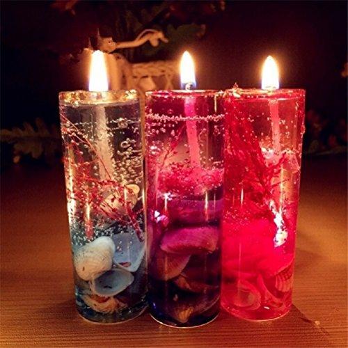 ILOVEDIY 1X Farbig Glasflasche Kerzen Gelee Wachs Weihnachten Beleuchtung Glänzend Kristall für Geburtstag Party Home Garten Zimmer