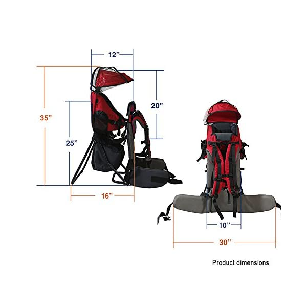 Baby Toddler Hiking Backpack Carrier w/Stand Child Kid Sunshade Shield XTLSTORE Ideal for Children Between 6 months to 4 years old. Maximun child weight: 50 pounds Canopy can be easily removed or folded back out of the way 6