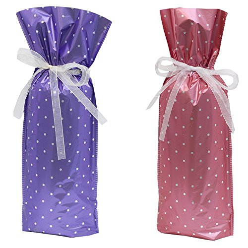 Gift mate Geschenk Mate Wein Flasche Geschenk Tasche (Set von 5) Pink/Purple Polka Dot