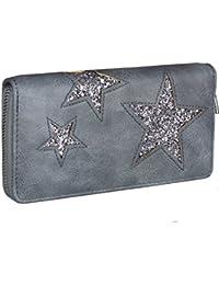 38cdec1e3308a Caripe Geldbörse Damen groß Glitzer Sterne Vintage Portemonnaie lang  Reißverschluss ...