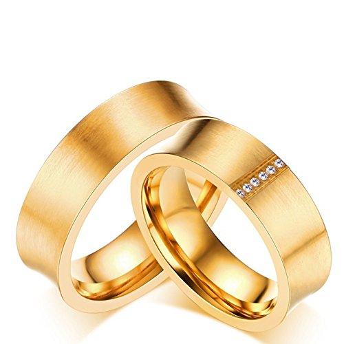 Lafeil Gold Ring for Women Partnerringe Mit Gravur Damen Herren Gold Titanring Konkav Schlicht Gebürstet Hoch Poliert Glänzend Zirkonia Paarpreis Kostenlos Gravur