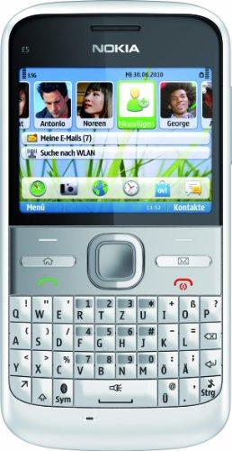 Nokia E5-00 Smartphone (6cm (2,3 Zoll) Display, Bluetooth, 5 Megapixel Kamera, QWERTZ-Tastatur) weiß