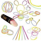 Pack de 100 Varitas Luminosas para Fiestas HotLite 20 cm - pulseras, collares, kits para crear gafas, pulseras triples, una diadema, pendientes, flores, una bola luminosa Premium y mucho más!