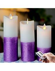 à piles 12,2cm, 15,2cm, 17,3cm vacillante Bougie sans flamme LED Télécommande