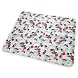 Black Shiba Inu Pattern. Cherry Flowers, Doodles Clouds, Red Sun. Washable Incontinence Pad Baby Changing Pad Pet Mat Large Size 25.5 x 31.5 inch (65x80 cm)
