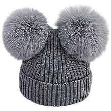 TTMall Cappello Bambina Berretti Invernali Ragazza Crochet Cappello A Maglia  Bimbo Caldo Cappello Doppio PON di cbd02f6f9c16