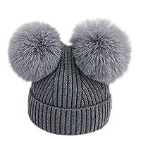 Topgrowth Cappello Bambina Berretti Invernali Ragazza Crochet Cappello A  Maglia Bimbo Caldo Cappello Doppio PON di Pelliccia Bambino Unisex e2cc565989ed