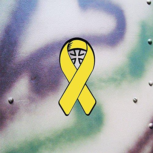 Bundeswehr Gelbe Schleife Solidarität deutsche Soldaten Bund Deutschland BW Reservisten Auslandseinsatz (schwarz-gelb, 10x5cm) - Aufkleber/Sticker #A621 -