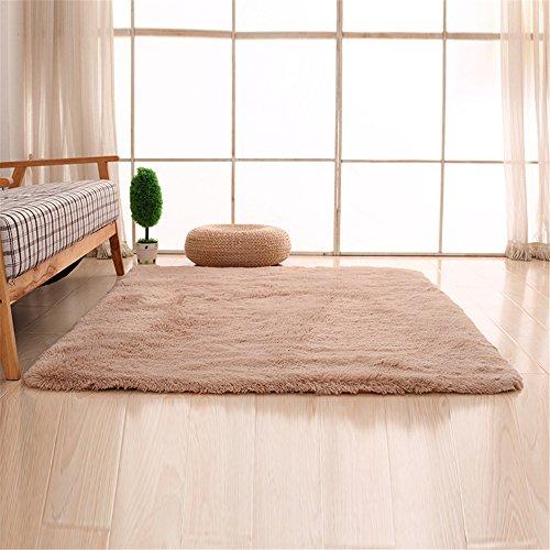 CAMAL Teppiche, Rechteck Waschbarer Seide Wolle Material Teppich für Wohnzimmer und Schlafzimmer (140cmX200cm, Licht tan) - Rechteck, Tan Teppich