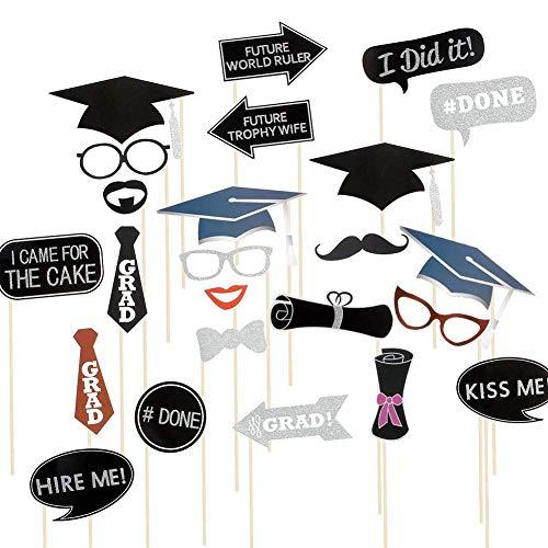 College Einfach Kostüm Spaß - Trifycore Abschluss-Foto-Props Set für Abschluss-Party Favor Kostüm Booth Props Graduation Selfie DIY Foto-Stütze 24X