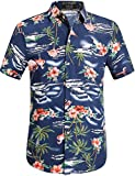 SSLR Camisa Hawaiiana Hombre Casual Estampado de Flamingos y Flores (Medium, Armada)