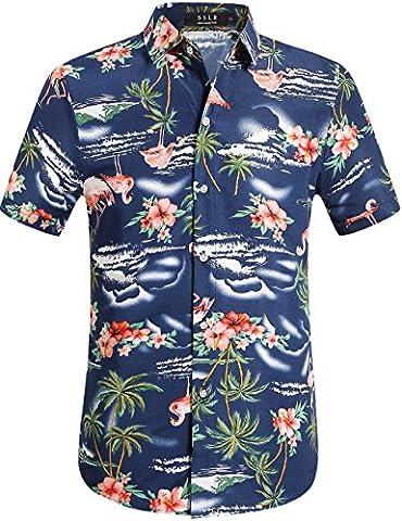 SSLR Herren Flamingos Blumen Freizeit Aloha Hawaii Hemd (Large, Navy) (Ss Muster)