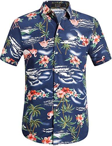 SSLR Herren Hemd Hawaiihemd 3D Gedruckt Flamingos Kurzarm Aloha Freizeit Hemd Button Down Shirt für Strand Reise (Large, Navy)