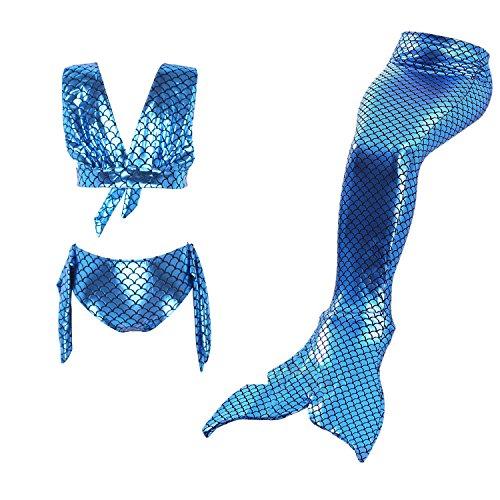 Kostüm Meerjungfrauenschwanz (Starjerny 3PS Mädchen Meerjungfrauen Bikini Set Schwimmanzug Badeanzüge Bademode Kostüm Cosplay Meerjungfrauenschwanz für Schwimmen Kinder 6-15 Jahre Farbewahl (140cm (12-13 Jahre), Navy))