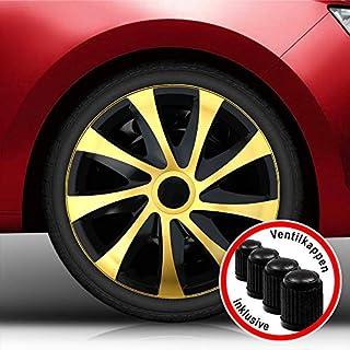 Autoteppich Stylers (Farbe und Größe wählbar) 16 Zoll Radkappen DRA_Bundle (Schwarz-Gold) passend für Fast alle Fahrzeugtypen (universal)