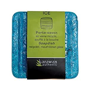 Porte savon Ice aqua bleu en verre recyclé