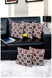 FAB NATION 5-Piece Medium-Sized Cushion Covers Set (16 x16 Inches), Multi Handloom Cotton Cushion Covers