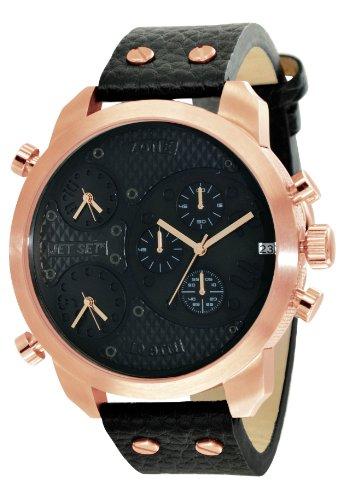Jet Set j1023r-267Zone–Watch Men–Quartz–Chronograph–Black Dial–Black Leather Strap