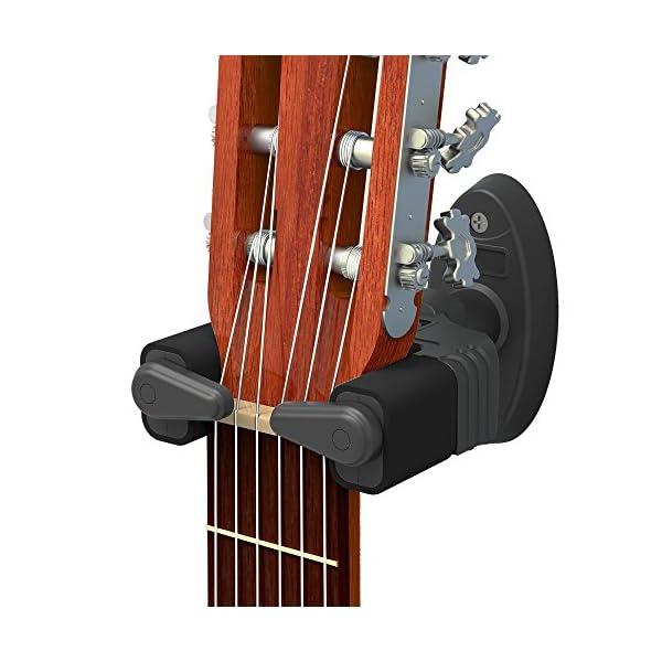 Supporto Gancio da Parete Mugig per Chitarra Acustica, Classica o Elettrica con il Meccanismo di Blocco Automatico Perfetto per tutti i tipi di chitarra e basso