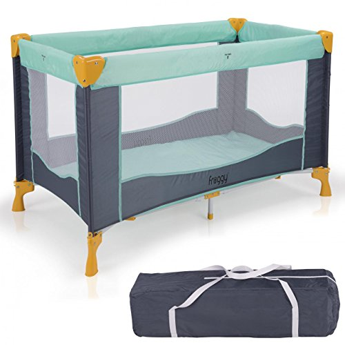 Froggy® Reisebett TROPICAL Babybett Laufstall mit Schlafunterlage, Matratze, praktische Transporttasche, kompakt,125 x 66 x 76 cm
