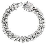 Halukakah  Bling  Uomo Platino Placcato Set di Diamanti Artificiali Grande Catena Cubana Braccialetto 8'(20cm) con Pacco Regalo Gratuita