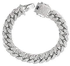 Idea Regalo - Halukakah ● Bling ● Uomo Platino Placcato Set di Diamanti Artificiali Grande Catena Cubana Braccialetto 8
