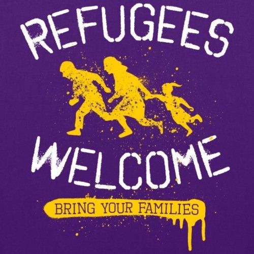 Rifugiati Spreadshirt Benvenuto Sacchetto Di Tessuto Viola