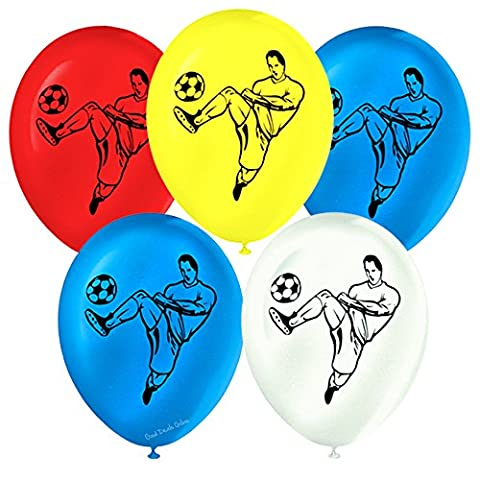 Football Score Balloons For a Boys Birthday Party 4 Different Colours Including Red, Mid Blue, White and Yellow - Decorate your home/venue with these unique balloons (Pack of 24 Balloons)