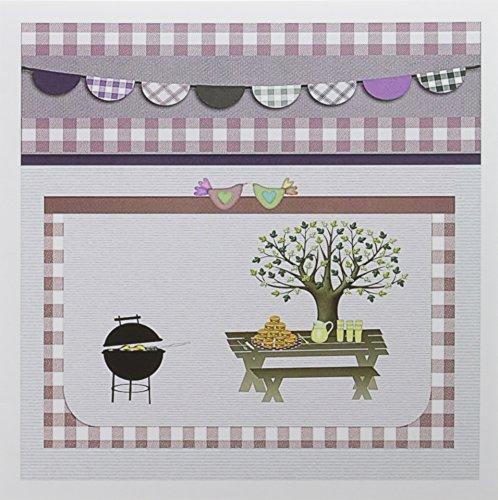 3drose Grill, Picknick Tisch mit Platte und Lemon Hilfe, Dusty, Pink Gingham Grußkarten, 15,2x 15,2cm, Set 12(GC 182718_ 2)