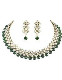 Karatcart Kundan and Red Beads Choker for Women (Green)