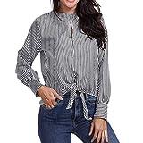 Honestyi Damen Chiffon Bluse Henley Shirt Casual Langarm Oberteile Damenmode Hollow aus Gestreiften Print-Shirt Casual Bluse Knopf Bogen Tops