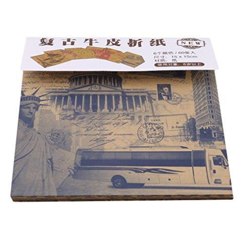 kemai Vintage Origami Papier 60 Blatt Vintage Kraftpapier für Album Scrapbook Karten (Kraft Origami-papier)