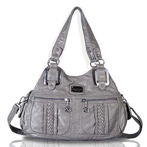 Womens Handtaschen Damen Geldbörsen Lila Satchel Schultertasche Geräumige Designer Tote Bag Top Griff (Grau)